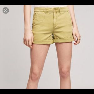 Anthropologie green relaxed chino shorts